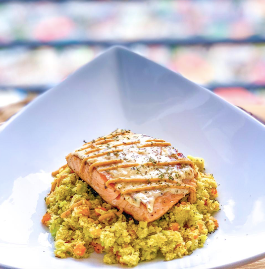 Creamy Garlic Dijon Salmon with Cauliflower Fried Rice <small> Low Carb Keto Meal </small>