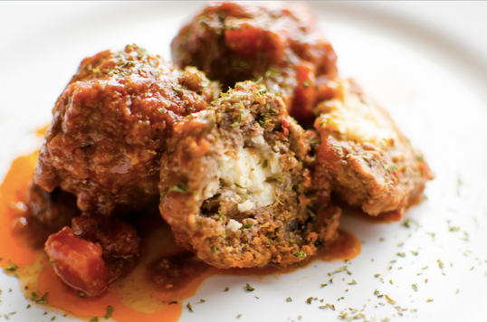Stuffed Feta Lamb Meatballs with Spinach Mashed Potatoes
