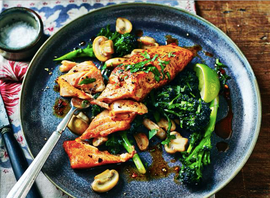 Sweet & Spicy Salmon with Kale & Mushrooms