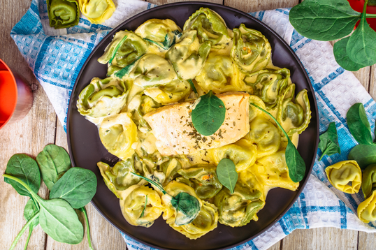Grilled Salmon with Stuffed Spinach & Cheese Tortellini