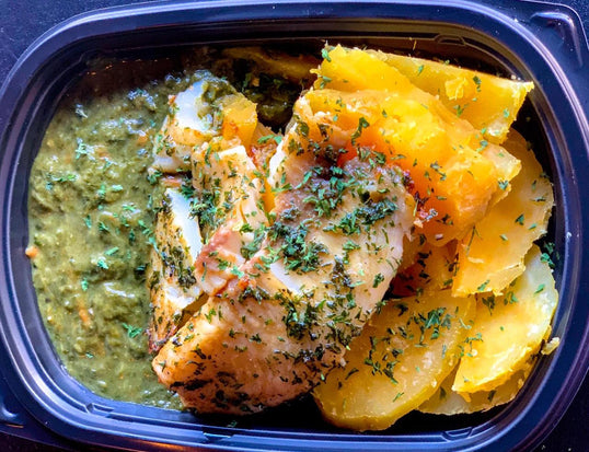 White Fish with Sweet Potato & Local Callaloo <small> Lean Gain Diet </small>
