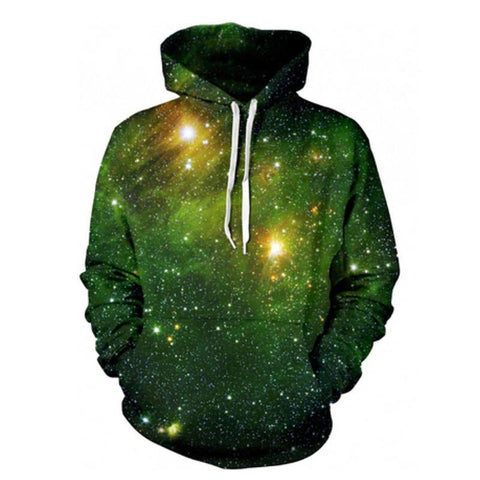 Green Galaxy Space Pullover Hoodie