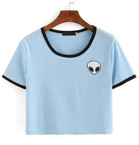 Alien Pocket T-Shirt - Blue and Black