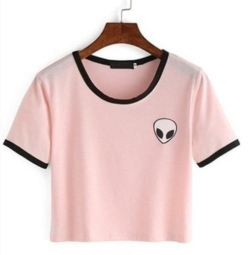 Alien Pocket T-Shirt - Pink and Black