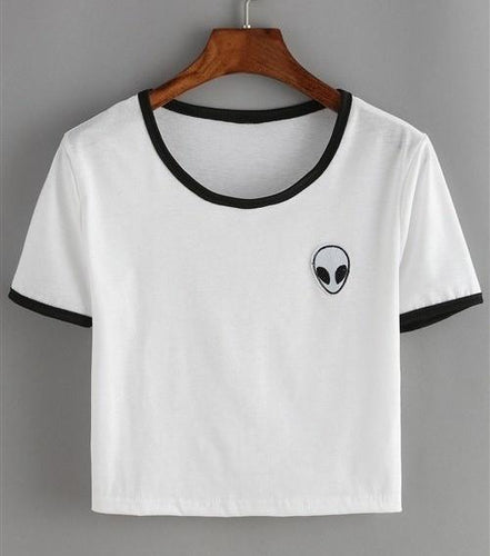 Alien Pocket T-Shirt - Black and White