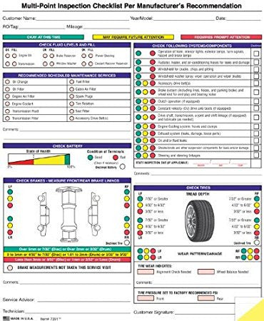 Multi Point Inspection Checklists And Worksheets