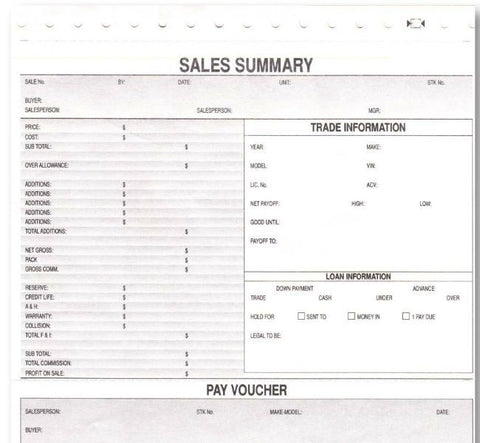 Car Dealership Sales Forms