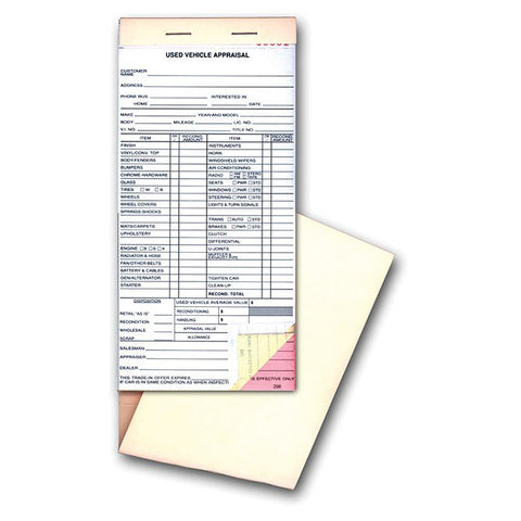 Used Vehicle Appraisal Forms For Car Dealers  Us Auto Supplies