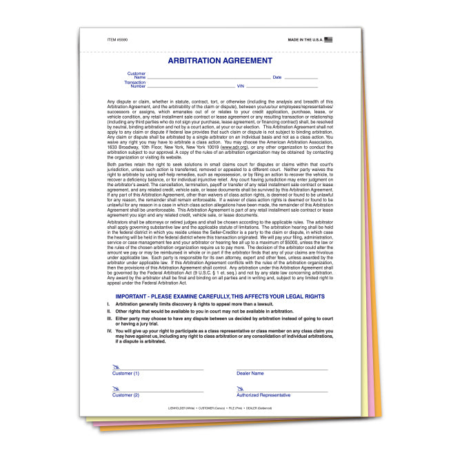 Car Dealership Arbitration Agreement | US Auto Supplies