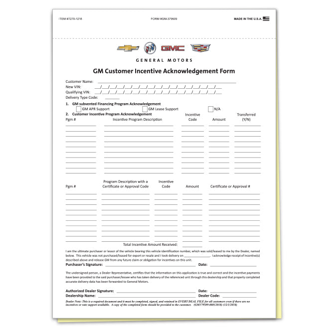 Auto Dealership Supply I GM Onstar Customer Incentive Forms