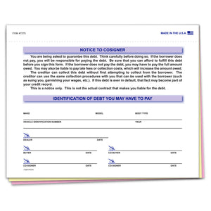 Notice To Cosigner Form | US Auto Supplies
