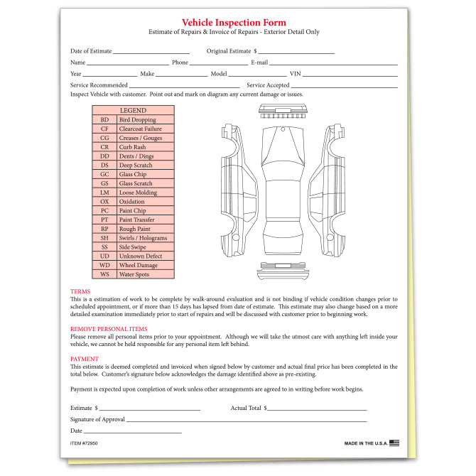 Inspection Estimate Forms From US Auto Supplies