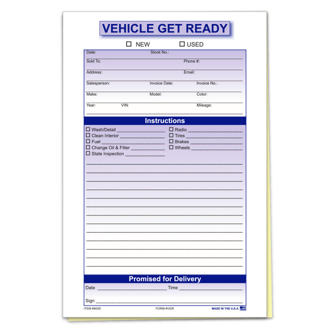 Vehicle Get Ready Forms - US Auto Supplies