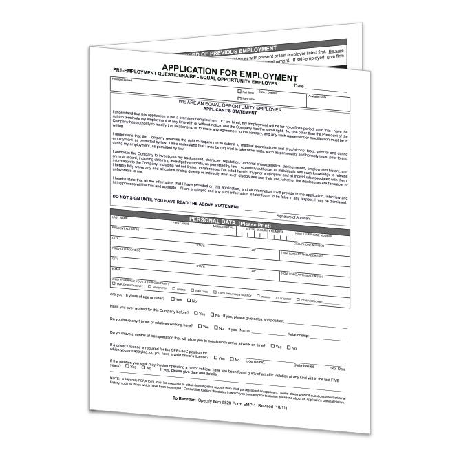 Application For Employment-Form EMP-1 | US Auto Supplies