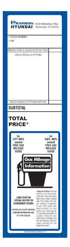 Dealership Addendum Sticker | US Auto Supplies