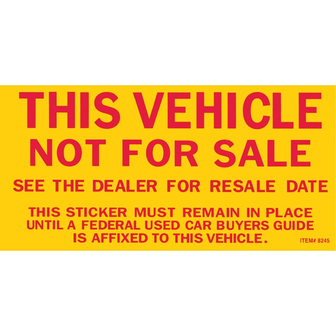 Not For Sale Stickers - US Auto Supplies