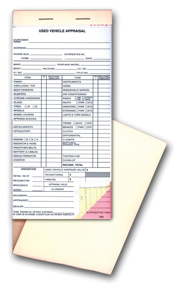 Car Appraisal Forms 298 | US Auto Supplies