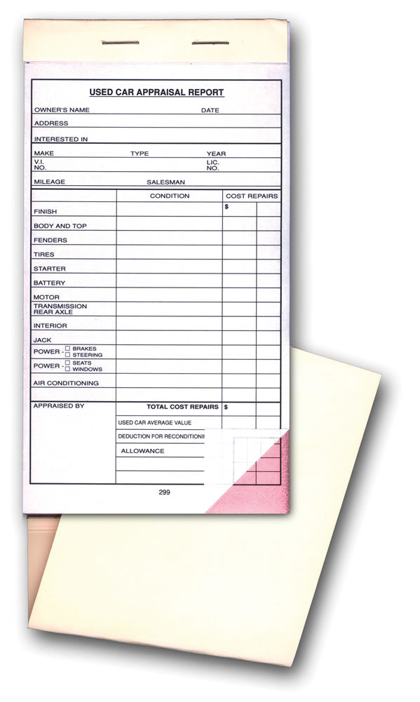 Used Car Appraisal Form  From Us Auto Supplies  Us Auto Supplies