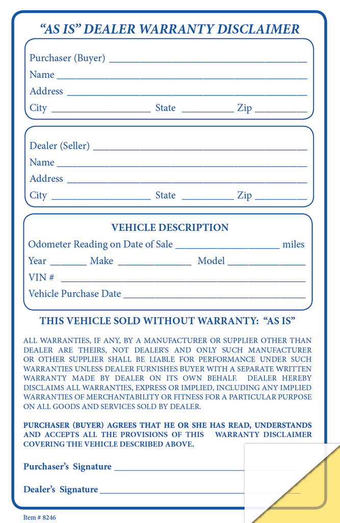As Is Warranty Disclaimer Forms | US Auto Supplies
