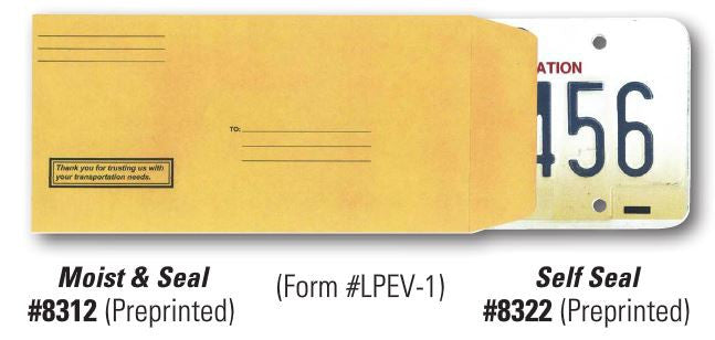 License Plate Mailing Envelopes | US Auto Supplies