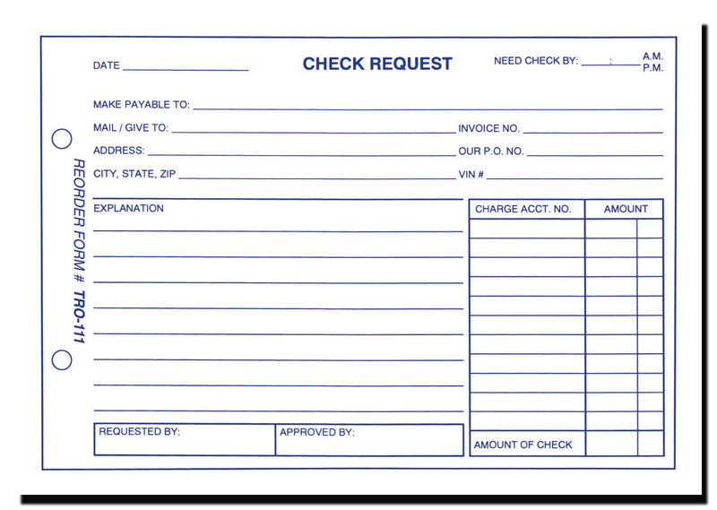 Car Dealer Check Request Forms  Us Auto Supplies  Us Auto Supplies