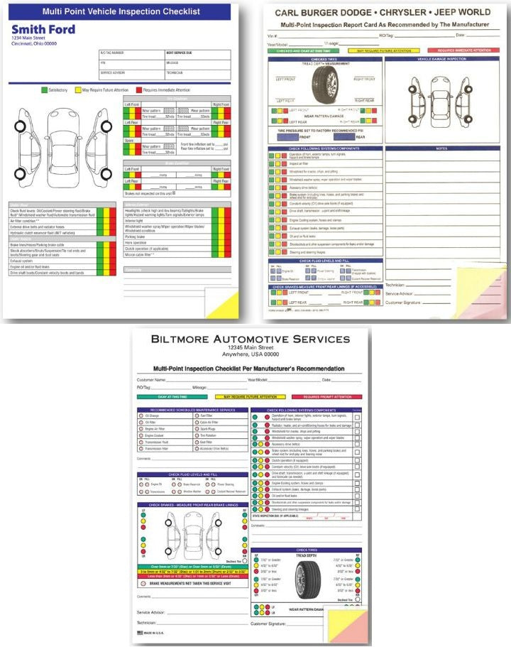 Custom Multi Point Inspection Forms | US Auto Supplies