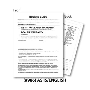 Exterior Buyers Guide Forms | US Auto Supplies
