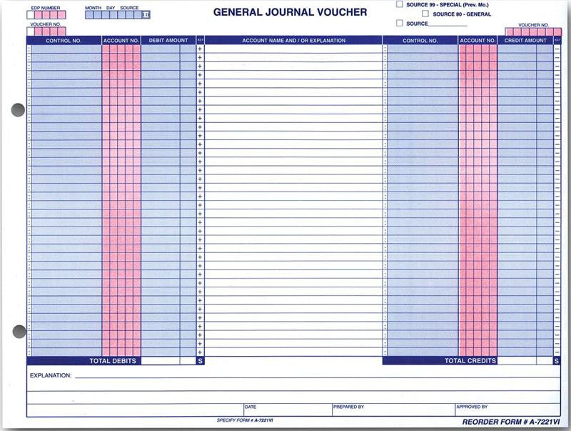 General Journal Vouchers  Form A-7221VI