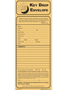 Key Drop Envelopes | US Auto Supplies