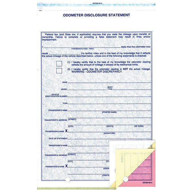 Odometer Disclosure Statement Form ODOM-65-3 | US Auto Supplies