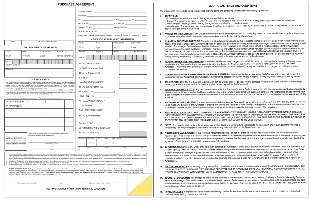 Dealer Purchase Agreement Forms  Auto Purchase Agreement Form