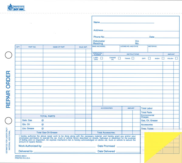 Auto Repair Order Forms | US Auto Supplies