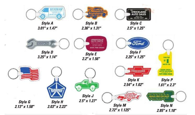 Soft Vinyl Key Tags | US Auto Supplies