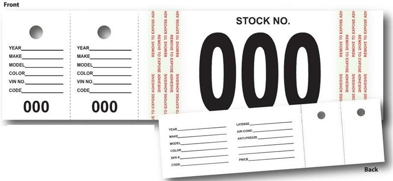 Vehicle Stock Number Tags (500 Set)