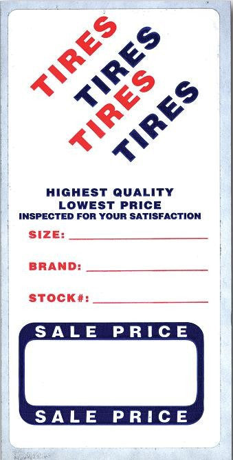 Tire Labels For Dealers And Auto Repair Shops