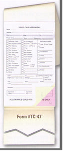 Used Vehicle Appraisal Form TC-47 | US Auto Supplies