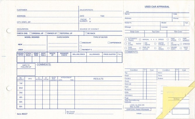 Used Car Appraisal Forms | US Auto Supplies
