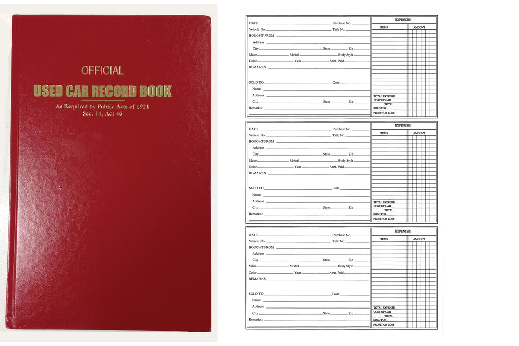 Used Car Record Book | US Auto Supplies