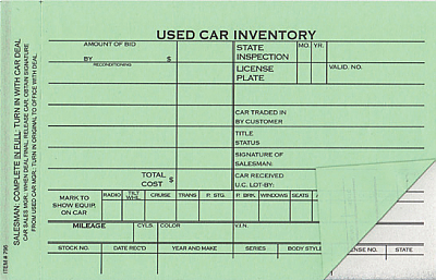 Auto Dealer Supply I Used Vehicle Inventory Cards