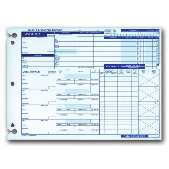 Inventory Records Form A-542