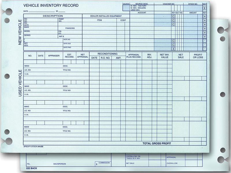 Dealers Supply I Vehicle Inventory Records Form A-532