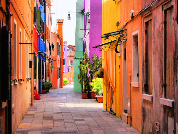 EUROPEAN HOMES WITH COLORED BACK ALLEY