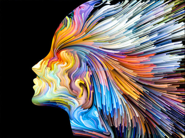 COLORFUL PROFILE OF WOMAN MODERN ABSTRACT