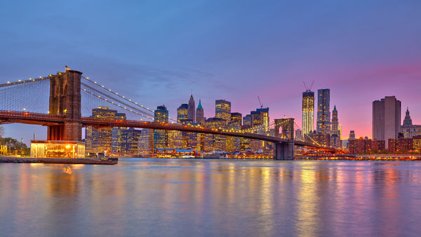 Brooklyn Bridge, Manhattan Skyline Dusk