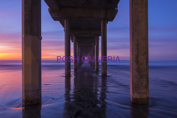 SCRIPPS PIER IN La Jolla, CA WITH PURPLE BLUE SKY