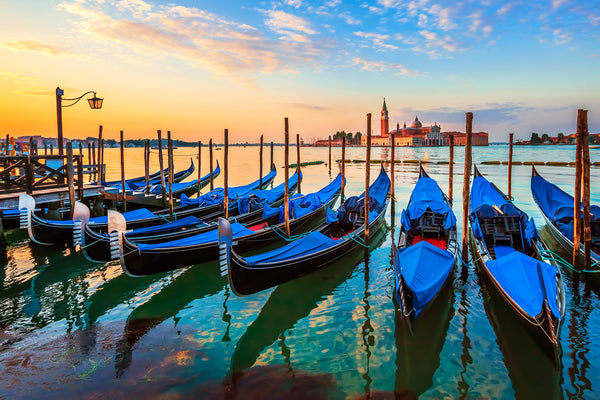 BLUE BOATS DOCKED IN VENICE