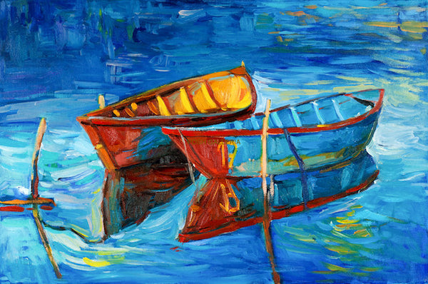 TWO EMPTY BOATS IN BLUE WATER PAINTING