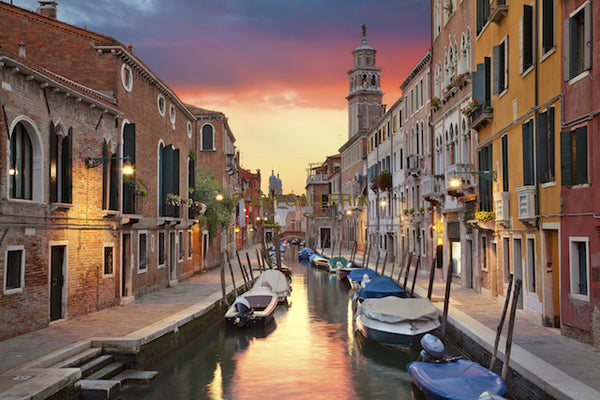 VENICE CANAL IN EVENING WARM COLORS