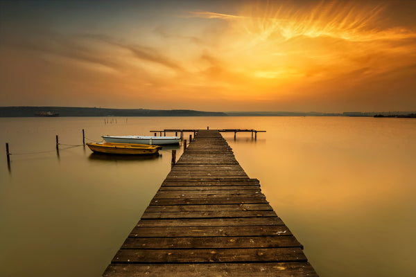 SMALL PIER INTO GOLDEN HORIZON CALM WATER - LAKE VARNA