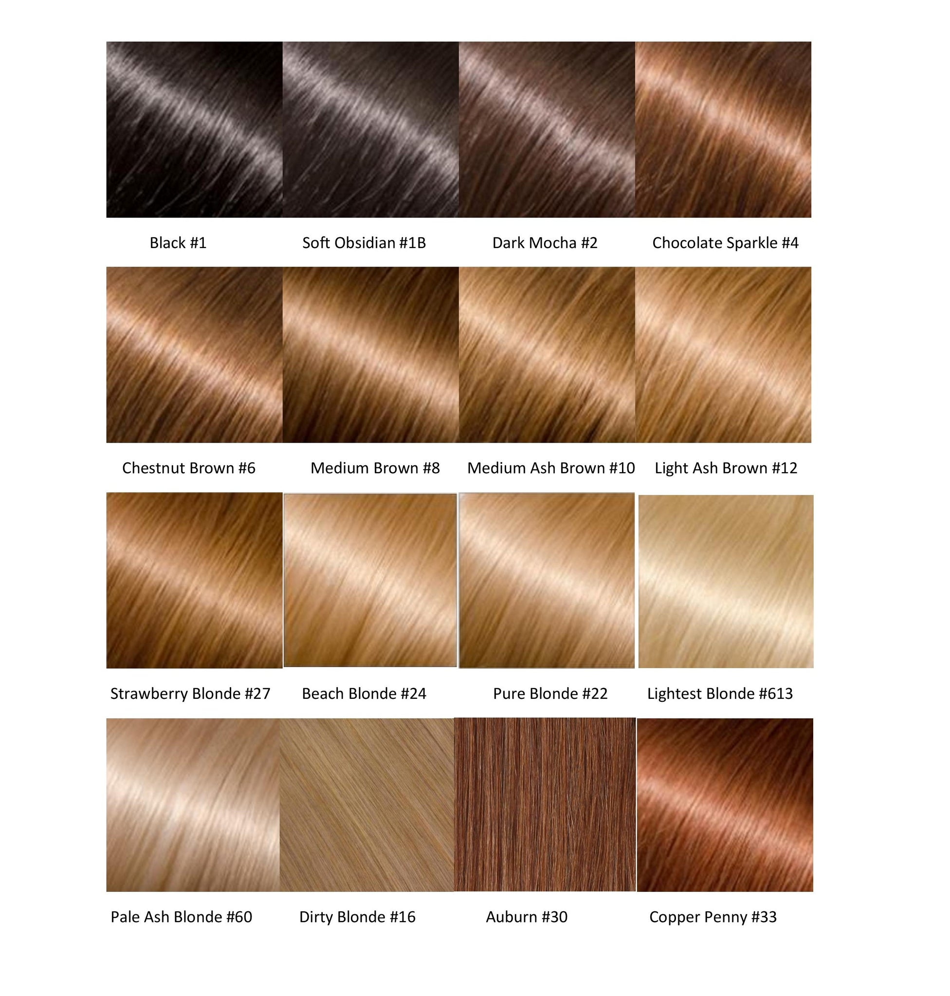 An entire hair color chart for hair extensions glossie hair click here to read how best to send in a request for a color match dont see a color combination you want request a custom order by emailing geenschuldenfo Images